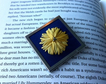 Blue and Yellow Embroidered Dandelion Beaded Brooch - Silk Ribbon Embroidery by BeanTown Embroidery