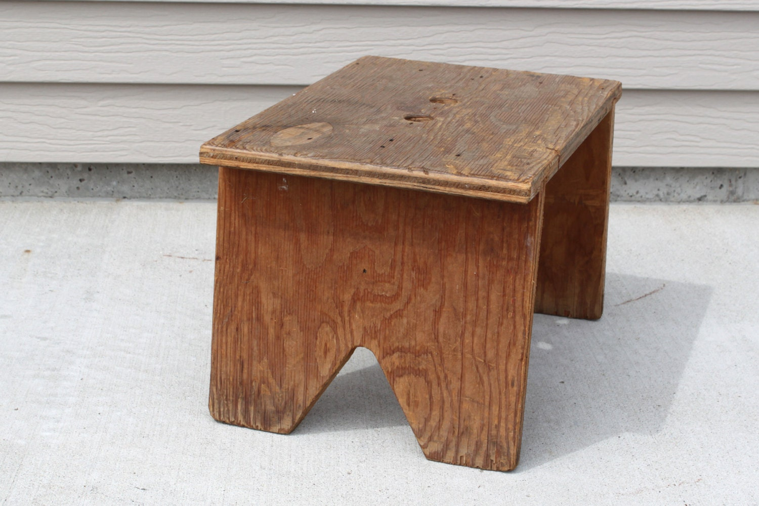 Vintage Wood Step Stool Wood Bench Holes For Carrying