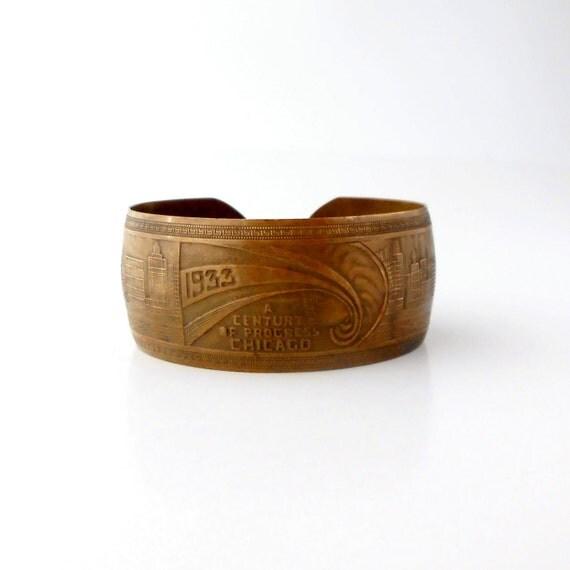 Art Deco Bracelet . Chicago Worlds Fair 1933 . Darkened Brass .