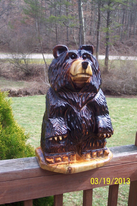 Chainsaw carving carved bear by gearyscustomcarvings