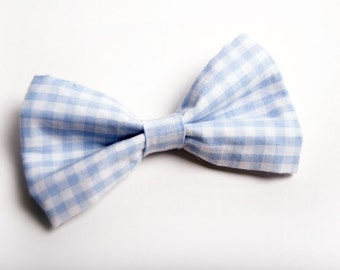 Baby Blue Gingham Bow Tie -Baby Toddler Child Boys - Wedding - photo prop