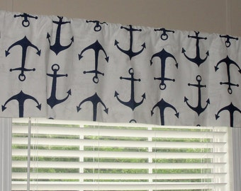 """Premier Prints Navy Blue and White Ship Anchor Valance 50"""" wide x 16"""" long Lined or Unlined"""