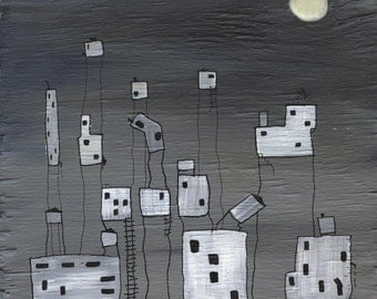 REDUCED PRICE! Grey and white cityscape on wood with glow in the dark moon- Ghost Town