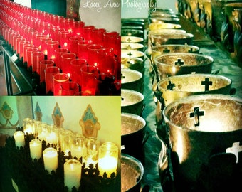 Mission Church candles Set 8x8 color photograph religous three images