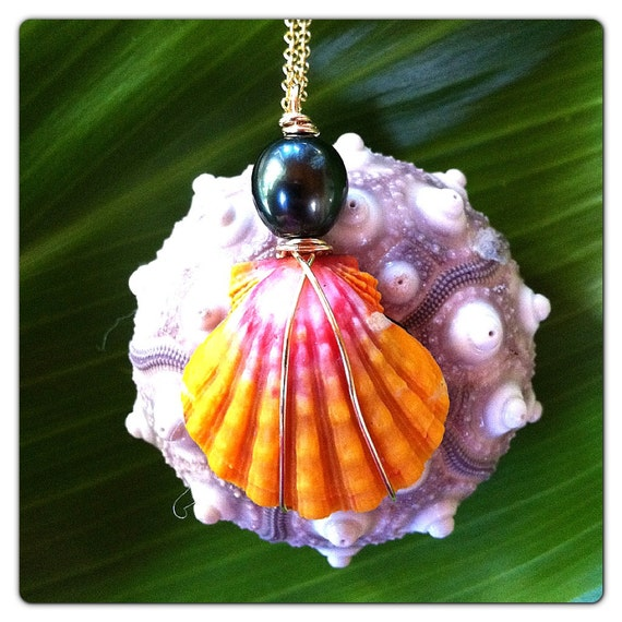 Sunrise Shell & Tahitian Pearl Necklace