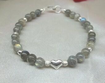 Labradorite Bracelet Gray Bracelet Silver Heart Bracelet Adjustable Bracelet 100% 925 Sterling Silver Bracelet Gemstone Buy3+Get1 Free