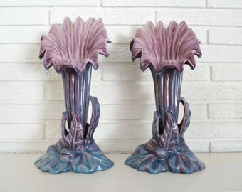 Hollywood Regency Lavender Blue Trumpet Lily Vases (2), Royal Haegar by Royal Hickman