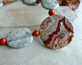 Big, Bold and Fiery Mixed Jasper, Agate and Red Coral Necklace - Large Red Statement Necklace