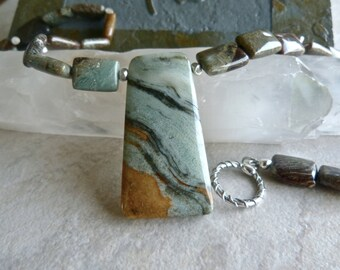 Ocean Wave Jasper Pendant with Snakeskin Jasper and Hill Tribe Silver Earthy Artisan Necklace