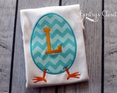Chevron Easter Egg Appliqued Shirt or Bodysuit. Personalized with a monogram. Big initial. Cute Easter outfit.