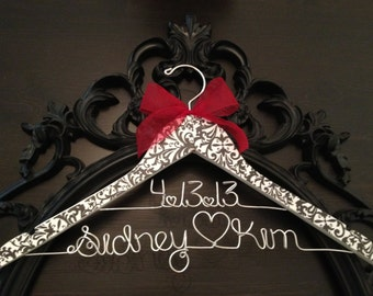 Damask Bride Hanger, Damask Wedding, Bridal Hanger, Wedding Hanger, Brides Hanger, Personalized Hanger, New Last Name Hanger, Damask