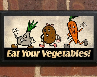 Eat Your Vegetables Wall Art Sign Plaque, Gift Present, Home Decor, Vintage Style Carrots Peas Beans Onion Potatoes Beets Squash Lettuce
