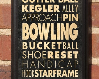 Bowling Wall Art Sign Plaque Gift Present Home Decor Vintage Style Strike Spare Gutter Alley Kegler 10 pin Custom Color Classic