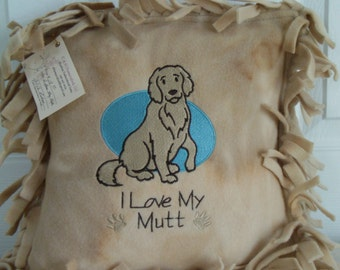 "CUSTOM MADE - 12"" x 12""  Embroidered Fleece Fringed Pillow"
