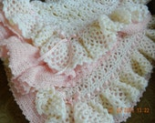 Ruffles and Frills Antique White,Pink/approx. 38 x 42/Crocheted baby afghan/Christening/Baby Shower/New Baby/FREE Shipping