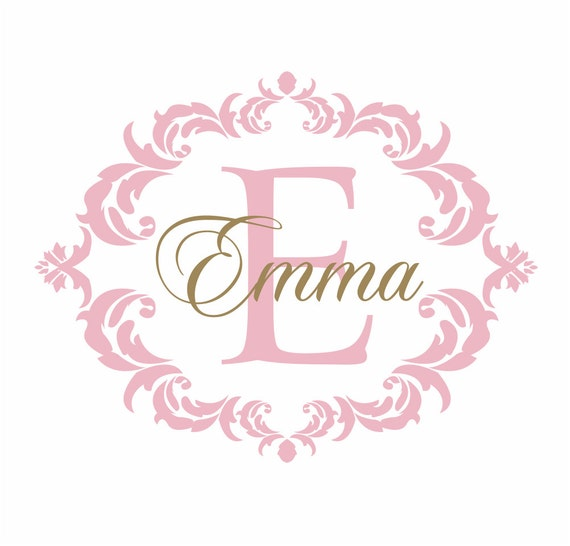 Items Similar To Name And Initial Vinyl Wall Decal Shabby