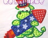 July 4th Dragon 02 Machine Applique Embroidery Design - 5x7 & 6x8