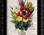 Vintage Flowers 13 - Vintage Dictionary Print Vintage Book Print Page Art Upcycled Vintage Book Art