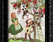 Alice In Wonderland Painting The Roses Red Vintage Dictionary Print Vintage Book Print Page Art Upcycled Vintage Book Artupcycled book print