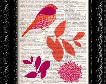 Pink and Orange Bird Floral Print - Vintage Dictionary Print Vintage Book Print Page Art Upcycled Vintage Book Art