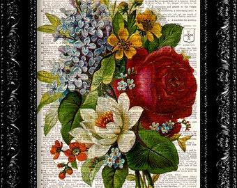 Vintage Flowers 1 - Vintage Dictionary Print Vintage Book Print Page Art Upcycled Vintage Book Art