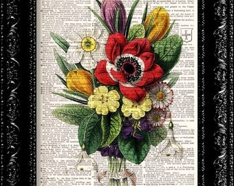 Vintage Flowers 13 - Vintage Dictionary Print Vintage Book Print Page Art Upcycled Vintage Book Art