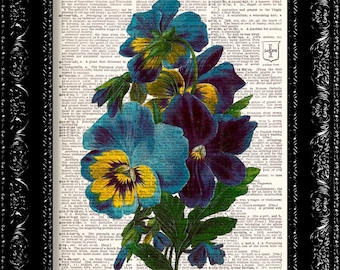 Vintage Flowers 15 - Vintage Dictionary Print Vintage Book Print Page Art Upcycled Vintage Book Art