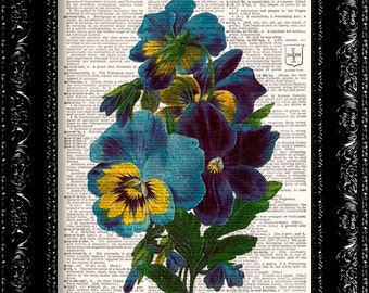 Vintage Flower Print, Dictionary Print, Floral Art Print, Vintage Book Print, Upcycled Vintage Book Art