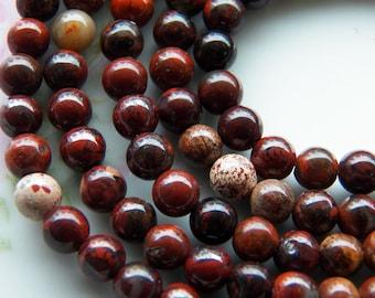 6mm Poppy Jasper Round Polished Gemstone Beads, 15.25 Inch Strand (IND1C47)