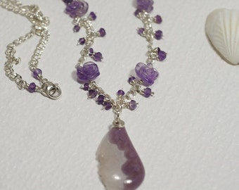 Pendant Necklace Agate and Amethyst Carved Rose Necklace