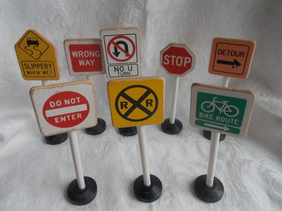 Vintage Toy Traffic Signs Wood Miniature Set US Shipping