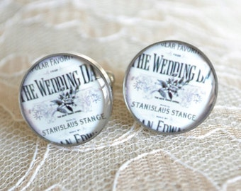 Wedding Day Vintage Print Cufflinks, timeless mens jewelry keepsake gift, classic cuff link accessories