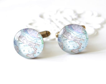 1 SET Italy Map Cufflinks / Brass Cuff Links with vintage Italian map - handmade in the US