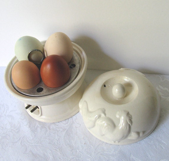 Chicken Vintage White Pottery Rooster Hen Electric Egg Poacher