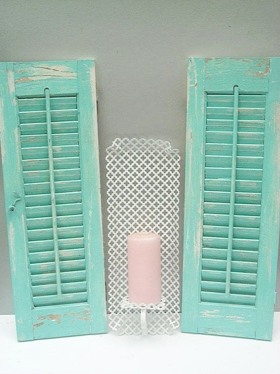 Distressed Wood Shutter and Filigree Sconce Robins Egg Blue White Shabby Decor Costal Beach Decor