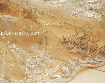 Gold Lace Fabric, Bridal Lace Fabric with Gold Thread Cord, Antique Gold Lace Fabric,Floral Lace