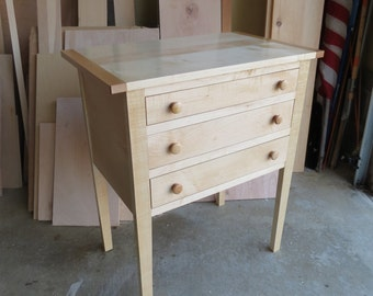 Shaker Three Drawer Table in Maple