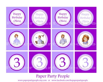 Sophia The First Printable DIY 2 inch Birthday Toppers, Favor Bag Tags, Stickers