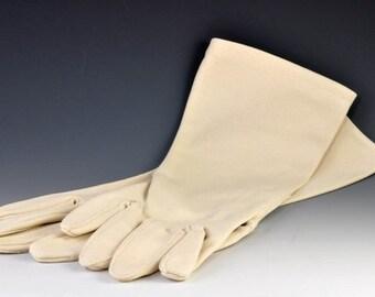 Vintage Beige Gloves - Nylon, Size 7.5 - Vintage Wedding Accessories - Offwhite Gloves for Bride or Bridesmaid, Prom, Formal wear