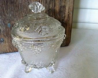 Vintage Lidded Dish - 4 Feet - Grapevine