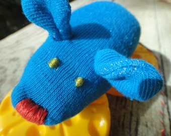 SALE! Handmade Stuffed Sock Animal Mouse Blue Child Safe Toy