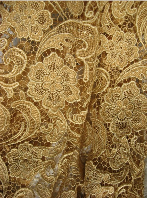 Gold Crocheted Lace Fabric With Classical Embroidered Retro
