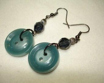 BUTTON EARRINGS - Dangle button earrings - DENIM blue button earrings