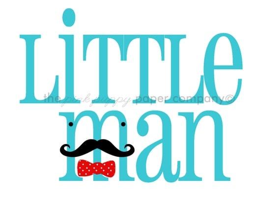 Little Man Mustache Nursery Print: 5x7 (you choose colors)