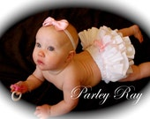 Beautiful Parley Ray Custom Boutique White and Pink Ruffled Baby Bloomers/ Diaper Cover / Photo Props