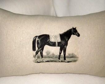 French Country Equestrian Horse & Burlap Reversible Lumbar Pillow, British Inspired Riding Lumbar Cushion, Equestrian Home Decor