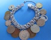 Vintage Sterling Silver Coin Bracelet Mercury Dimes, Russian Coins, 13 Coins Charm Bracelet