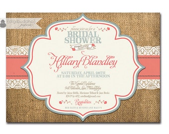 Rustic Bridal Shower Invitation Burlap & Lace with Roses Invitation Typography Classic FREE PRIORITY SHIPPING or DiY Printable - Hillary