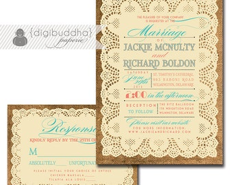 Lace Burlap Wedding Invitation & Response Card 2 Piece Suite Coral Turquoise RSVP Rustic Shabby Chic DIY Digital or Printed - Jackie Style