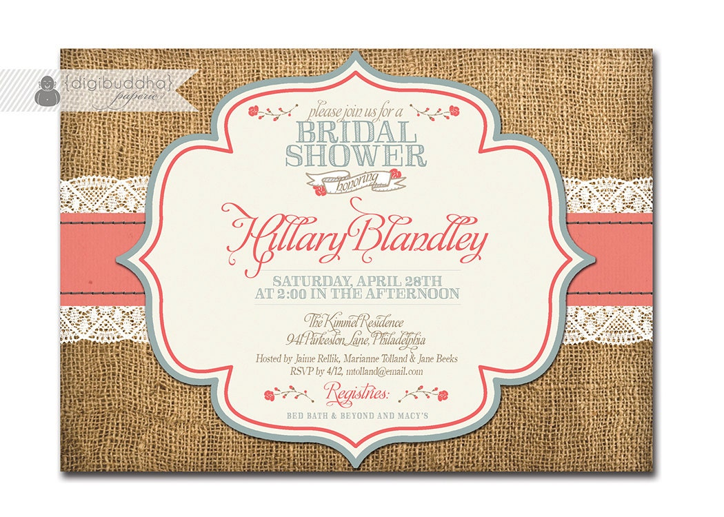 rustic bridal shower invitation burlap & lace with roses, Wedding invitations